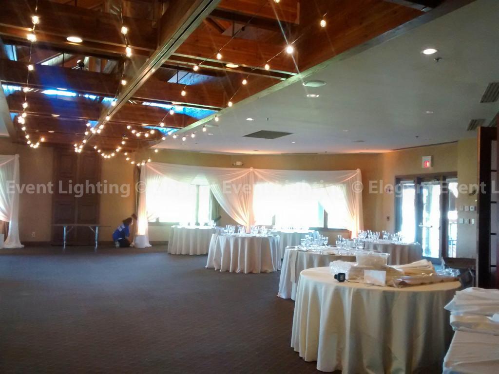 Sheer Ivory Fabric Draping & Cafe Globe Lighting | Seven Bridges Golf Club