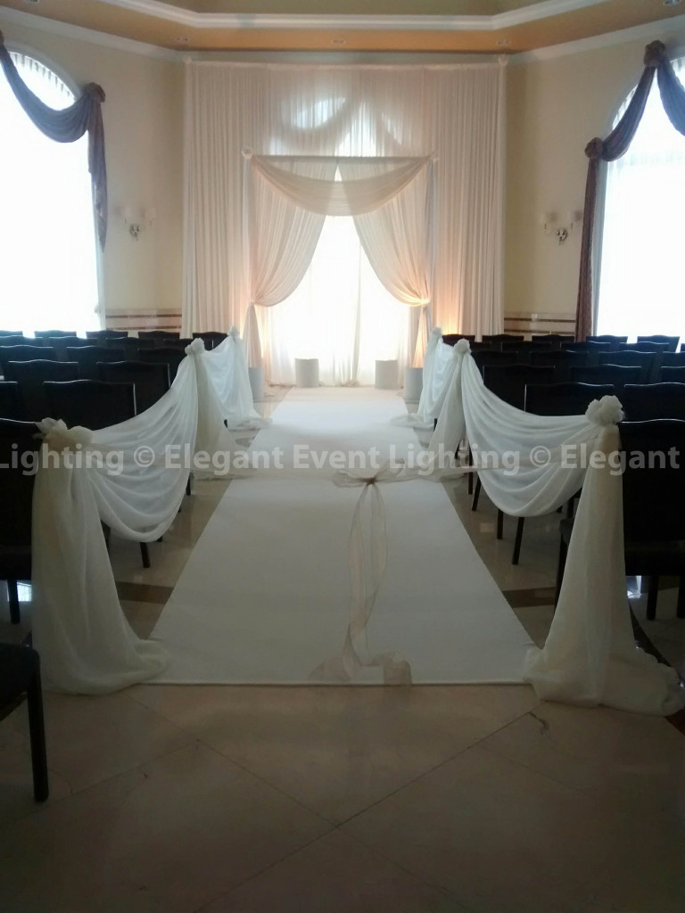Ceremony Arch, Backdrop, Aisle Runner & Aisle Draping | Vitas Room - Venuti's