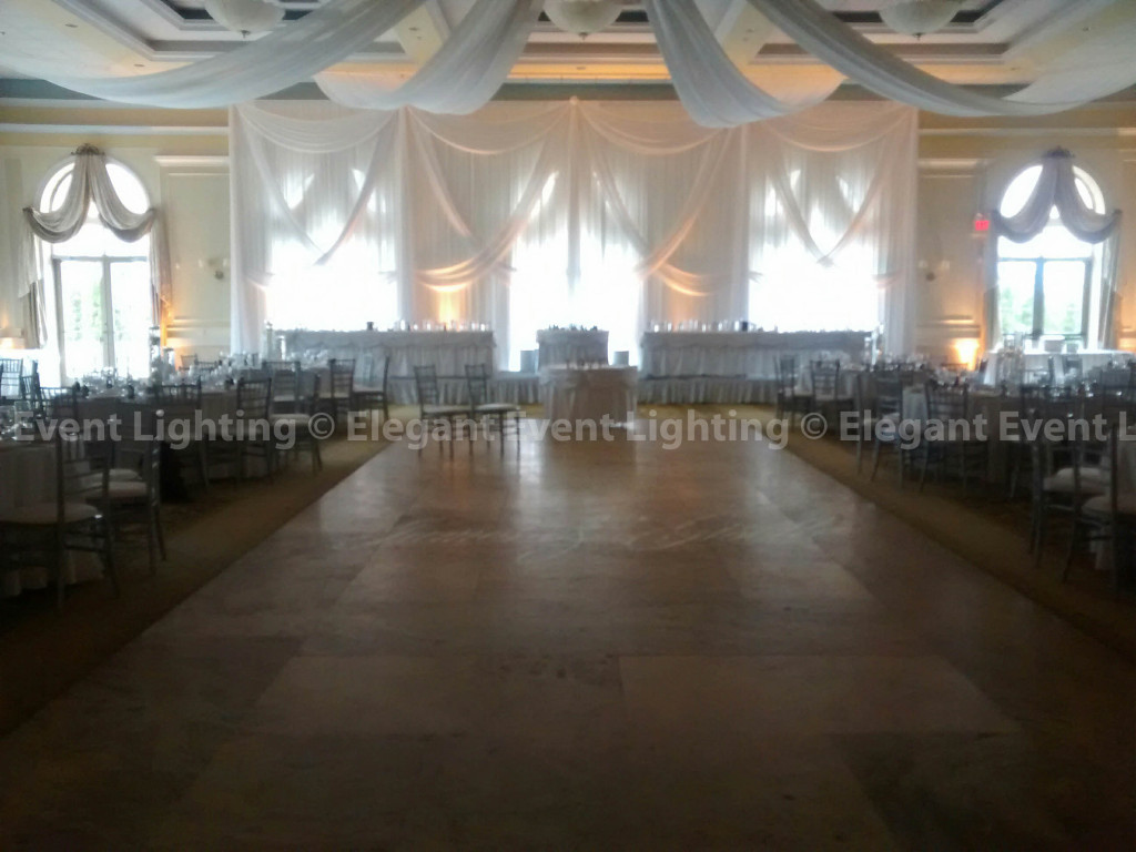 Head Table Backdrop & Amber Uplighting | Venezia Ballroom - Venuti's