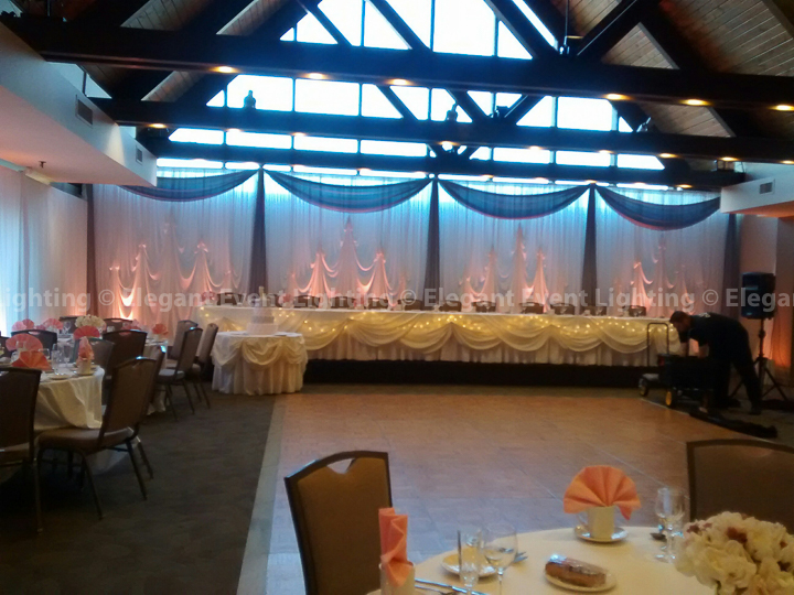 Sheer White Draping & Pink Uplighting | Villa Olivia
