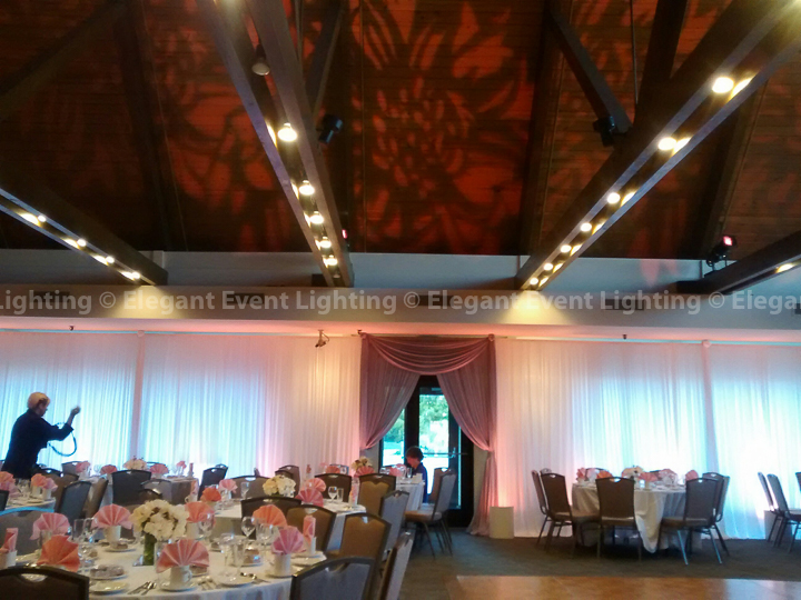 Sheer White Draping, Pink Uplighting & Floral Pattern Lighting | Villa Olivia
