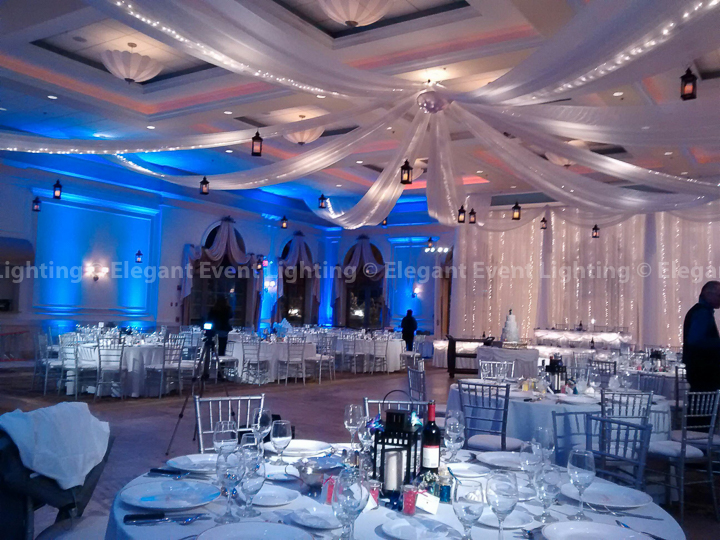 Fairy Light Backdrop, Ceiling Canopy, Pin Spot Lighting, Iron Lanterns & Blue Uplighting | Venuti's