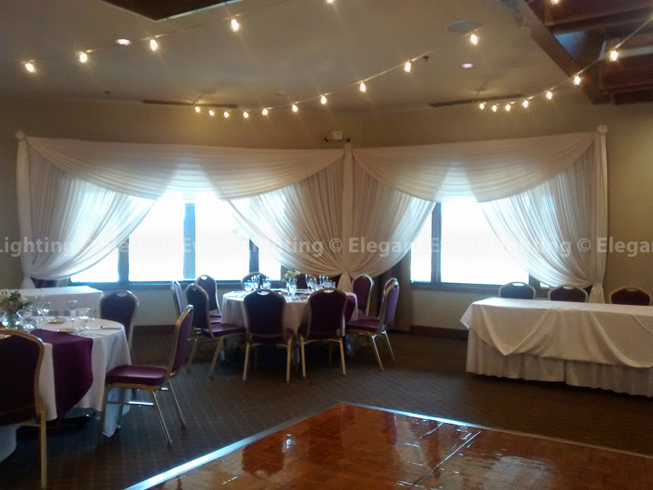 Window Draping & Cafe Globe Lights | Seven Bridges Golf Club
