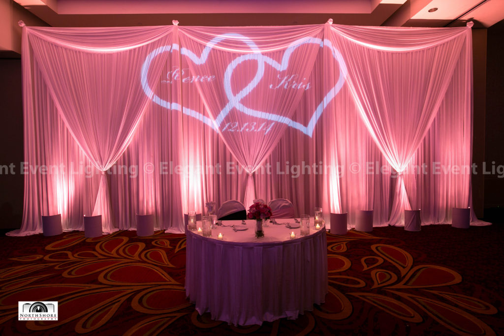 Sweetheart Table Backdrop, Uplighting & Monogram | Schaumburg Marriott