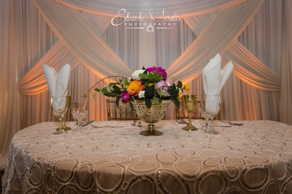 Sweetheart Table Draping | Seven Bridges Golf Club