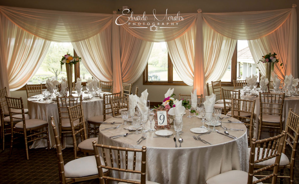 Ivory Room Draping & Amber Uplighting | Seven Bridges Golf Club