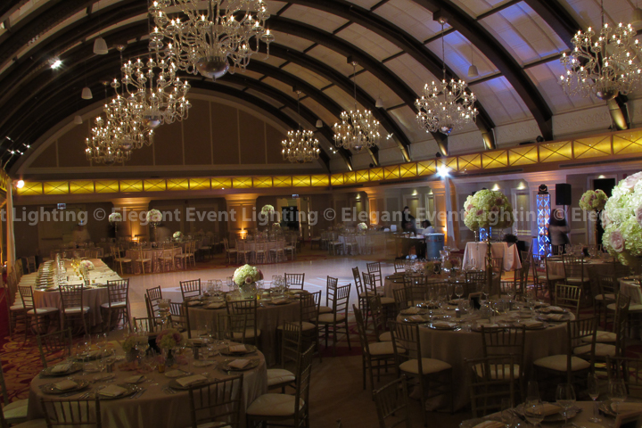 Perimeter Uplighting, Pin Spot Lighting, Dance Floor Lighting & Head Table Wash | JW Marriott Chicago