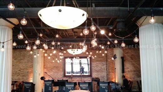 Cafe Lights, Amber Uplighting & Column Wraps | River Roast