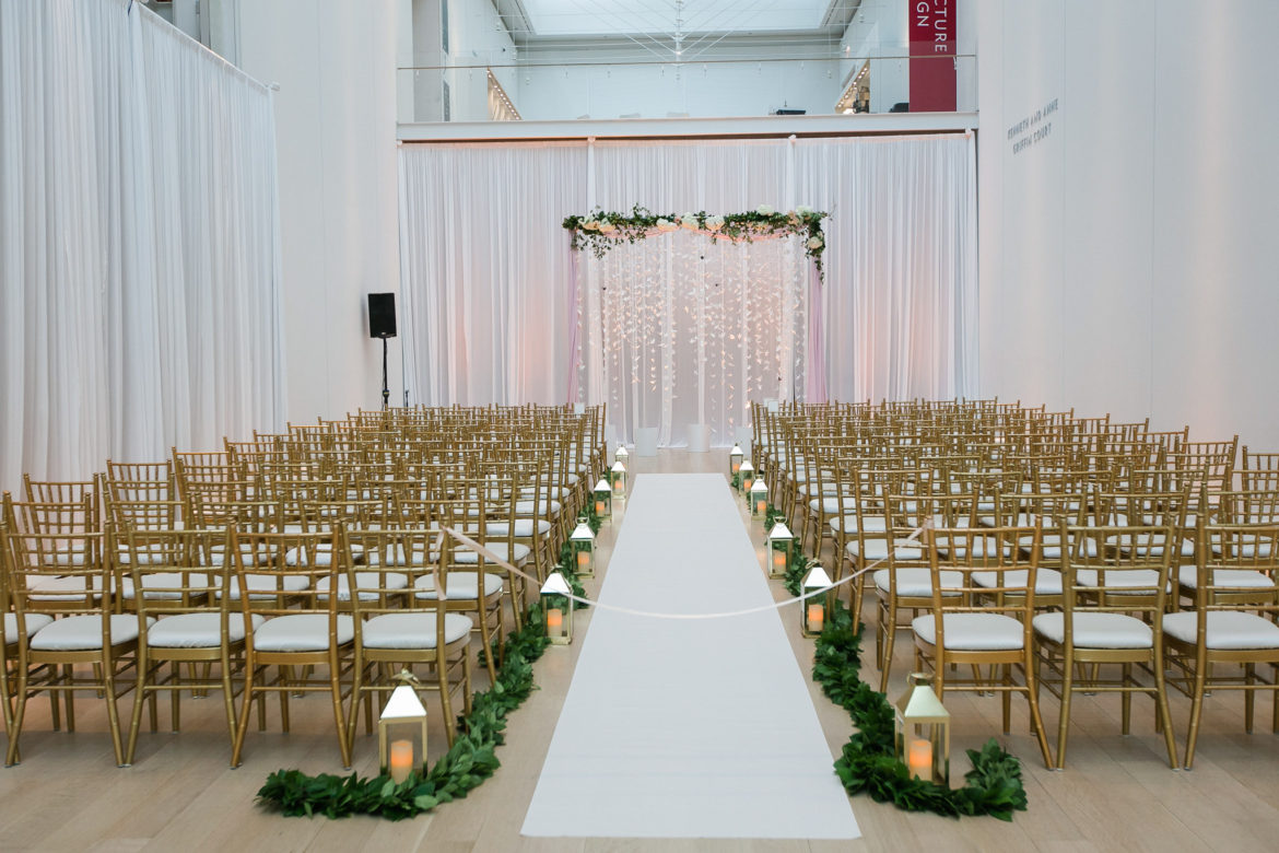 Elegant_Event_Lighting_Chicago_Art_Institute_Griffin_Court_Wedding_Ceremony_White_Draping_Backdrop_Cranes_Blush_Pink_Uplighting_LED
