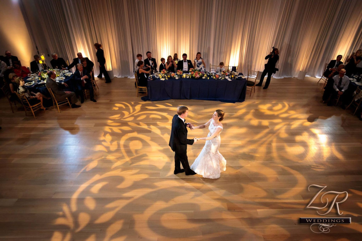 Elegant_Event_Lighting_Chicago_Art_Institute_Griffin_Court_Wedding_Dance_Floor_Pattern_Lighting_White_Draping_Backdrop_LED_Uplighting_Amber_First_Dance