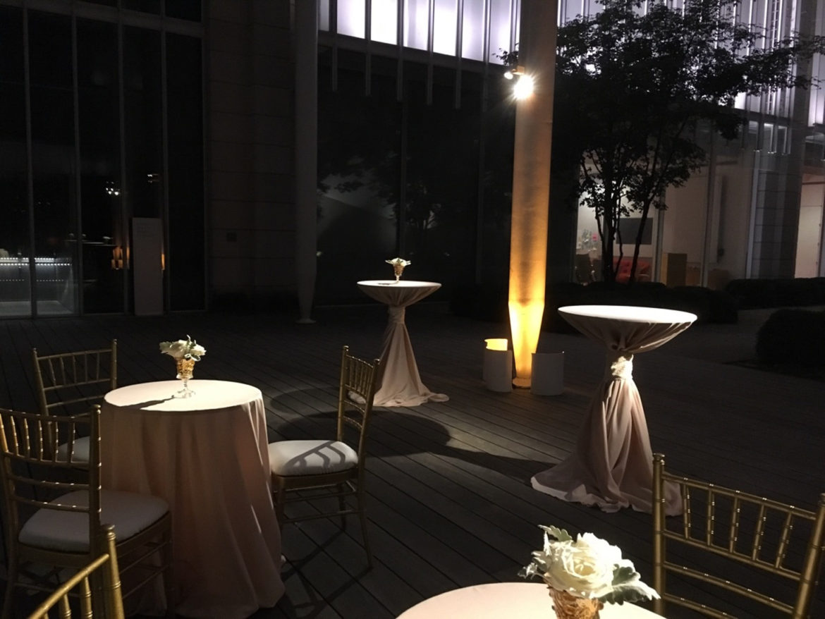 Elegant_Event_Lighting_Chicago_Art_Institute_Griffin_Court_Wedding_Flower_Lighting_LED_Amber_Uplighting_Outdoor_Cocktail