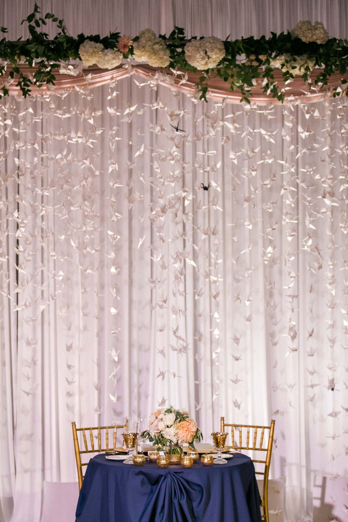 Elegant_Event_Lighting_Chicago_Art_Institute_Griffin_Court_Wedding_Sweetheart_Table_Backdrop_Cranes_Blush_Pink_White