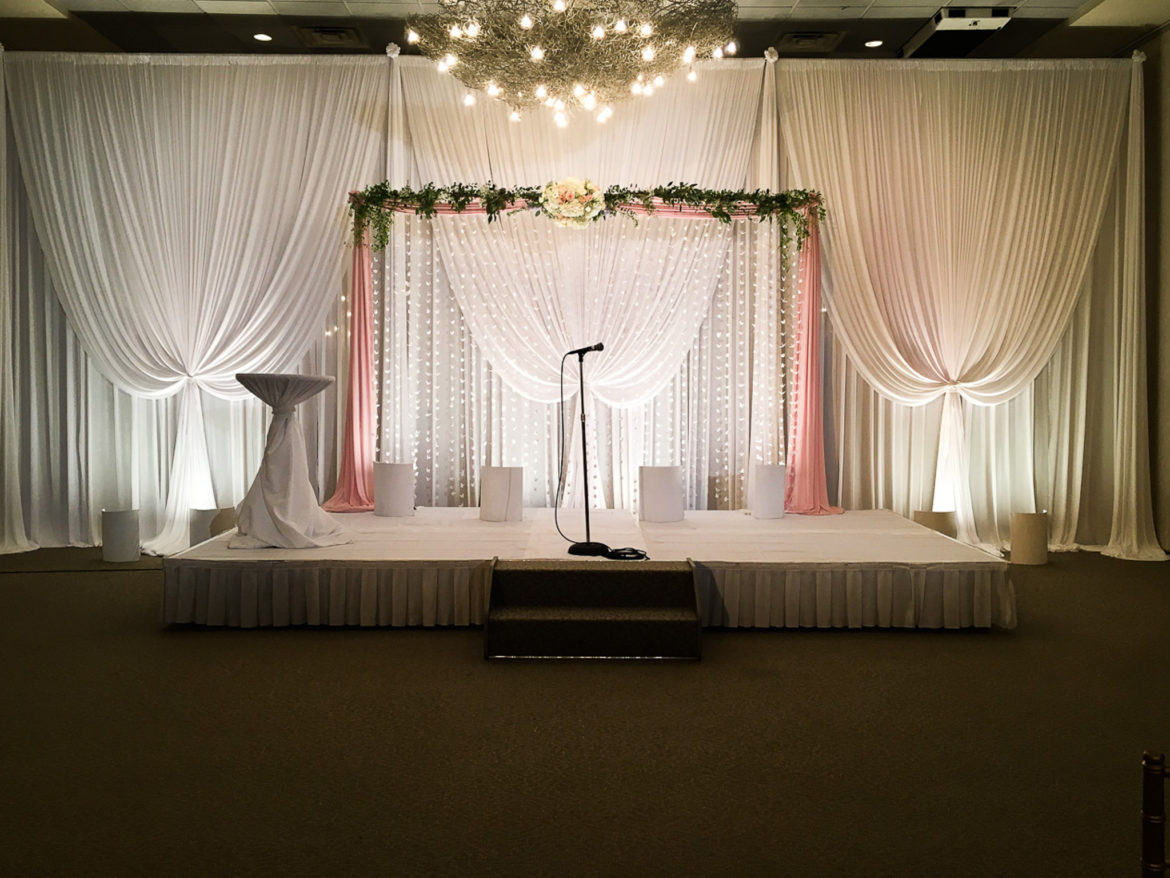 Elegant_Event_Lighting_Chicago_Belvedere_Banquets_Elk_Grove_Wedding_Backdrop_Cranes_Blush_Pink_White_Draping_Soft_Uplighting_Ceremony