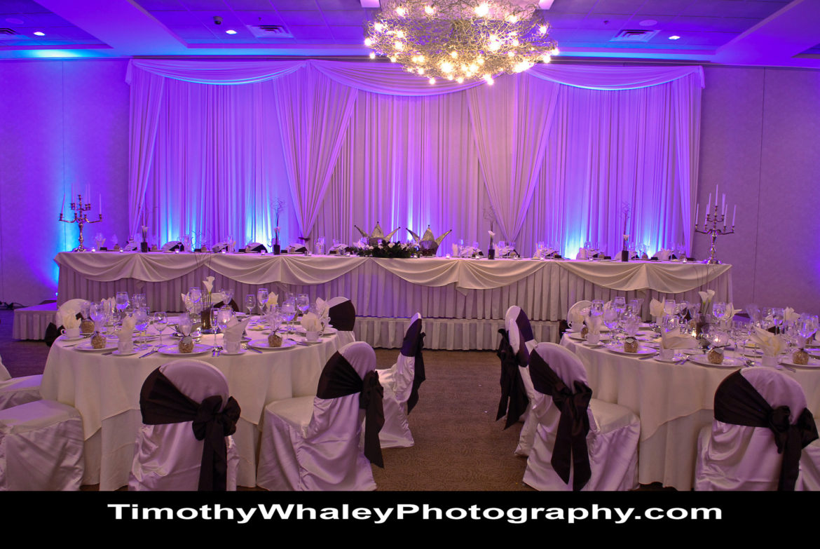 Elegant_Event_Lighting_Chicago_Belvedere_Banquets_Elk_Grove_Wedding_Blue_LED_Uplighting_Backdrop_Draping_White