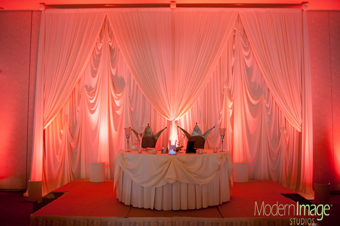 Elegant_Event_Lighting_Chicago_Belvedere_Banquets_Elk_Grove_Wedding_Draping_Backdrop_Sweetheart_Table_Red_LED_Uplighting