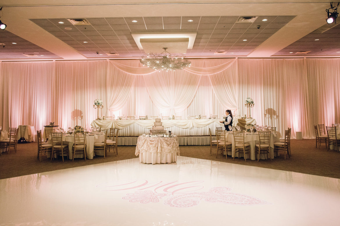 Elegant_Event_Lighting_Chicago_Belvedere_Banquets_Elk_Grove_Wedding_White_Draping_Backdrop_Blush_Pink_Dance_Floor_Monogram