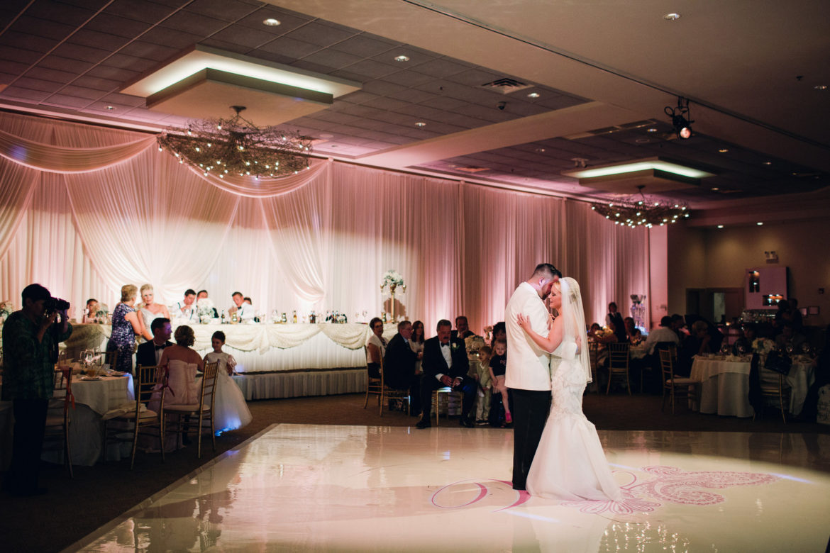 Elegant_Event_Lighting_Chicago_Belvedere_Banquets_Elk_Grove_Wedding_White_Vinyl_Dance_Floor_Pink_Monogram