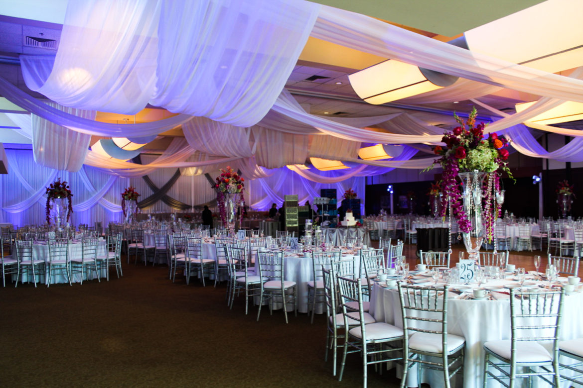 Elegant_Event_Lighting_Chicago_Bobaks_Signature_Events_Woodridge_Wedding_Ceiling_Drapes_Blue_Lighting_Backdrop_Draping