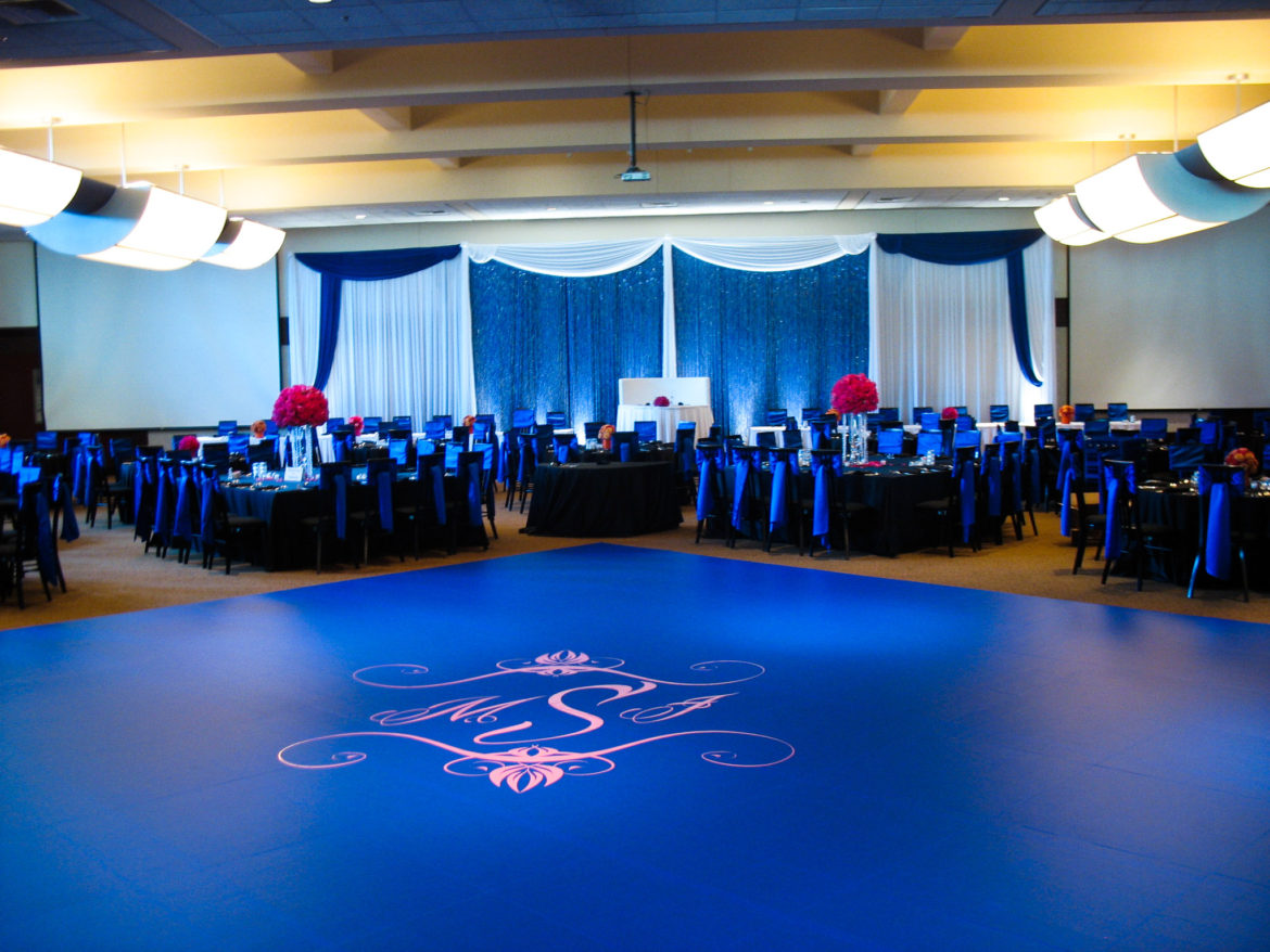 Elegant_Event_Lighting_Chicago_Bobaks_Signature_Events_Woodridge_Wedding_Cobalt_Blue_Dance_Floor_Monogram_Crystal_Curtain_Backdrop_Draping