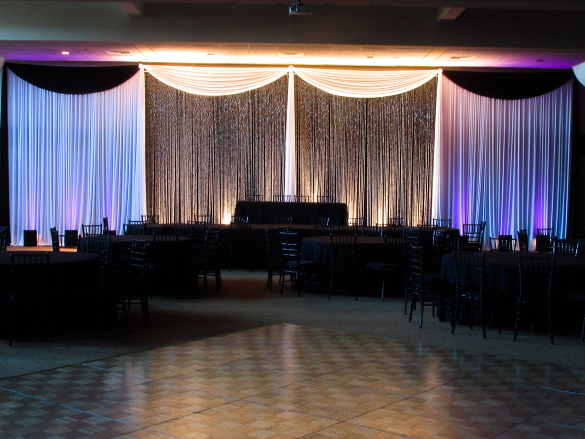 Elegant_Event_Lighting_Chicago_Bobaks_Signature_Events_Woodridge_Wedding_Crystal_Curtain_Backdrop_Black_White_Purple_LED_Uplighting