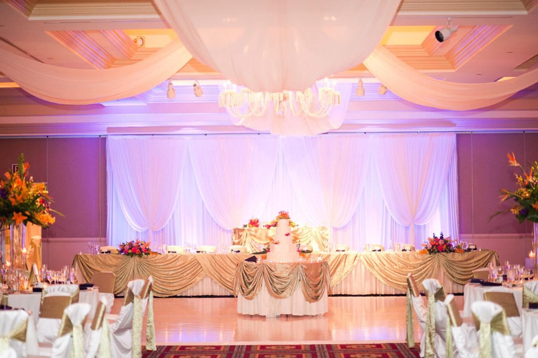 Elegant_Event_Lighting_Chicago_Bolingbrook_Golf_Club_Wedding_Backdrop_White_Draping_Purple_LED_Uplighting