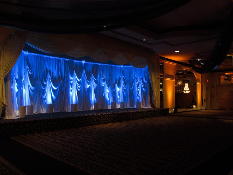 Elegant_Event_Lighting_Chicago_Carlisle_Wedding_Blue_Uplighting_Backdrop_Draping_Reception