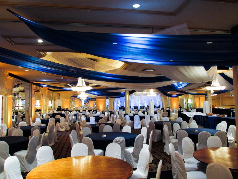 Elegant_Event_Lighting_Chicago_Carlisle_Wedding_Ceiling_Treatment_Blue_White_Draping_Drapes