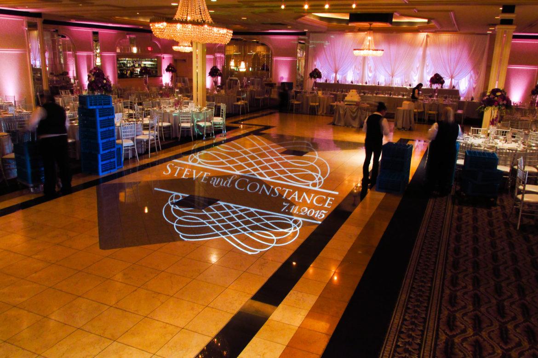 Elegant_Event_Lighting_Chicago_Carlisle_Wedding_Pink_LED_Uplighting_Monogram_Dance_Floor_Lighting