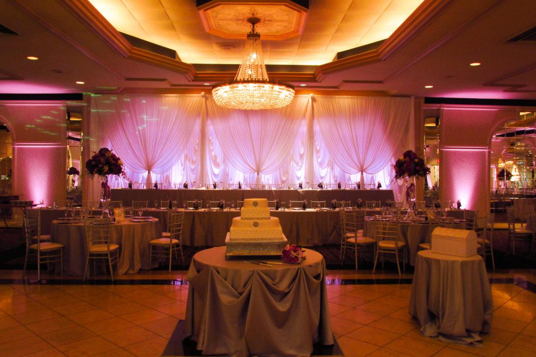 Elegant_Event_Lighting_Chicago_Carlisle_Wedding_White_Draping_Backdrop_Pink_LED_Backdrop