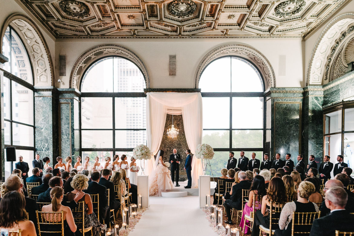 Elegant_Event_Lighting_Chicago_Cultural_Center_GAR_HallWedding_Ceremony_Bridal_Canopy_Chuppah_Crystal_Chandelier_Aisle_Runner