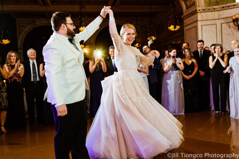 Elegant_Event_Lighting_Chicago_Cultural_Center_Preston_Bradley_Hall_Wedding_ Gold_Dance_Floor