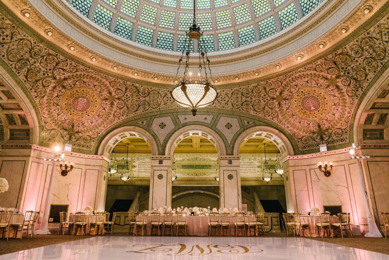 Elegant_Event_Lighting_Chicago_Cultural_Center_Preston_Bradley_Hall_Wedding_Blush_Pink_Uplighting_White_Dance_Floor_Monogram