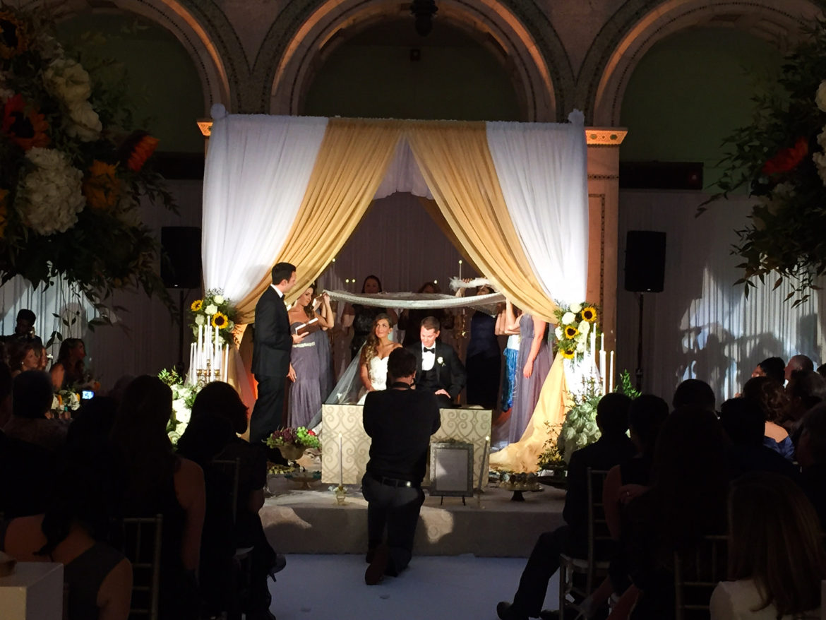 Elegant_Event_Lighting_Chicago_Cultural_Center_Preston_Bradley_Hall_Wedding_Bridal_Canopy_Chuppah_Gold_White_Draping_Reception_Sweetheart_Table