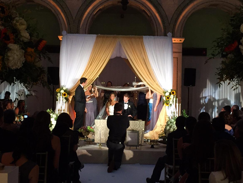 Elegant_Event_Lighting_Chicago_Cultural_Center_Preston_Bradley_Hall_Wedding_Bridal_Canopy_Chuppah_Gold_White_Draping_Reception_Sweetheart_Table