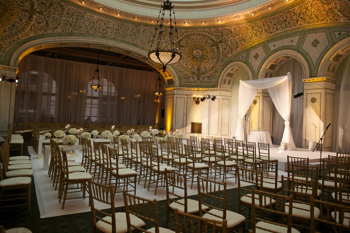Elegant_Event_Lighting_Chicago_Cultural_Center_Preston_Bradley_Hall_Wedding_Ceremony_Arch_White_Dance_Floor_Draping
