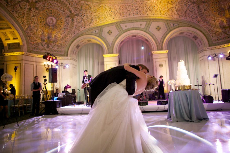 Elegant_Event_Lighting_Chicago_Cultural_Center_Preston_Bradley_Hall_Wedding_Dance_Floor_White_Draping_Band_Backdrop