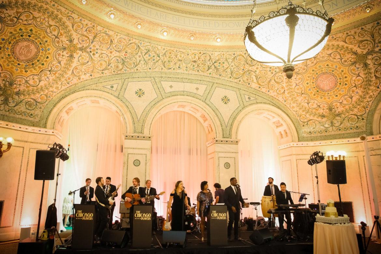 Elegant_Event_Lighting_Chicago_Cultural_Center_Preston_Bradley_Hall_Wedding_Draping_soft_Uplighting_Band_Backdrop