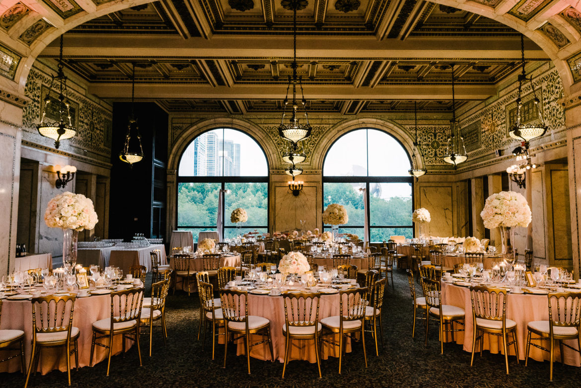 Elegant_Event_Lighting_Chicago_Cultural_Center_Preston_Bradley_Hall_Wedding_Flower_Lighting_Center_Pieces