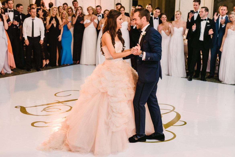 Elegant_Event_Lighting_Chicago_Cultural_Center_Preston_Bradley_Hall_Wedding_White_Dance_Floor_Monogram_First_Dance_Reception
