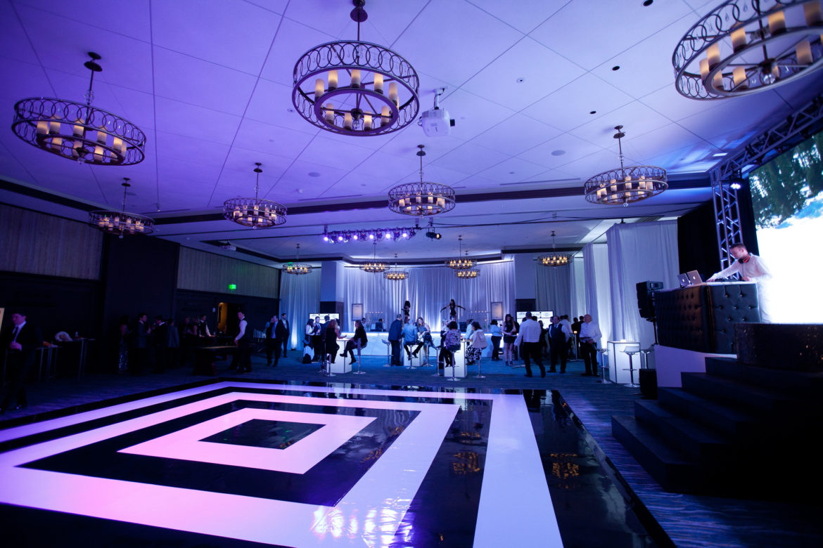 Elegant_Event_Lighting_Chicago_Cultural_Center_The_Edgewater_Madison_WI_Wedding_Black_White_Stripe_Dance_Floor