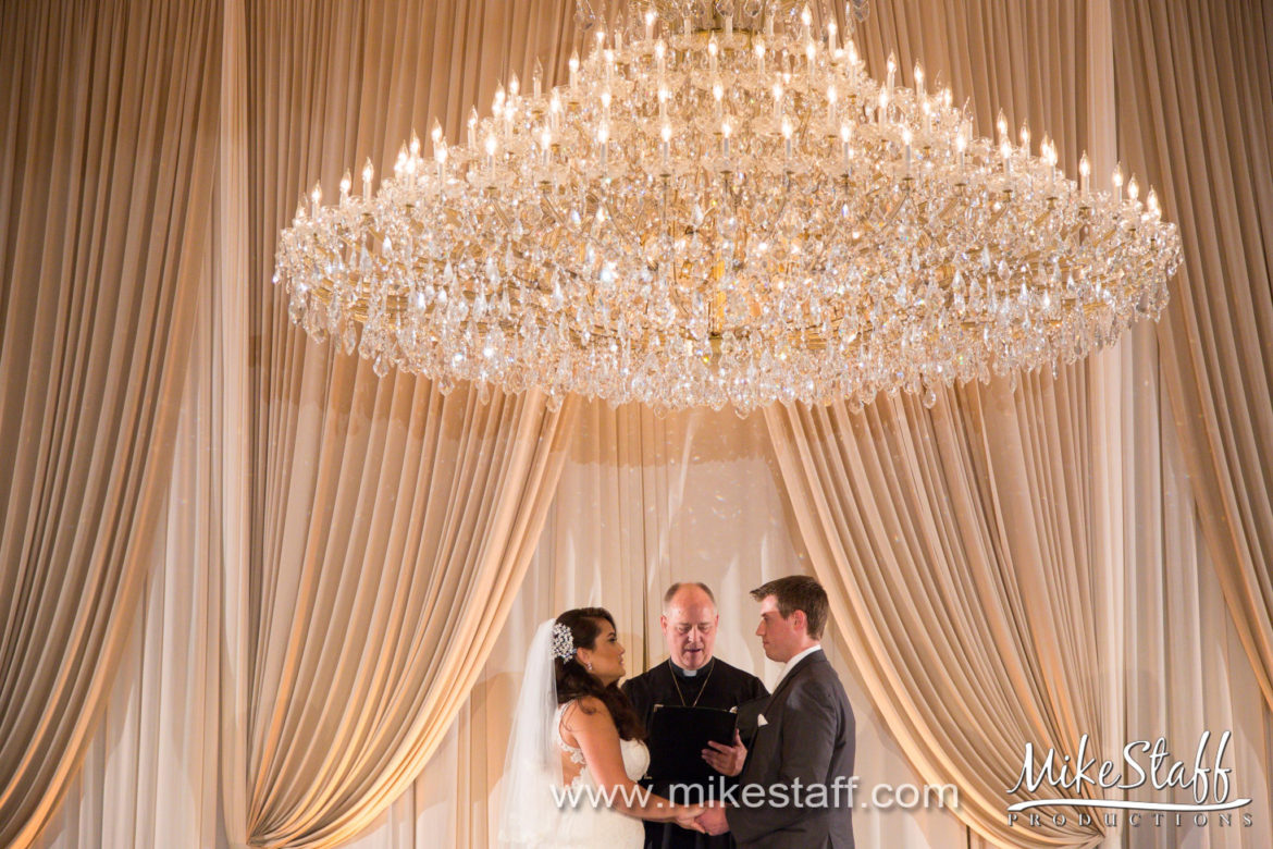 Elegant_Event_Lighting_Chicago_Drury_Lane_Oak_Brook_Wedding_Ceremony_Backdrop_Champagne_Draping_Ivory