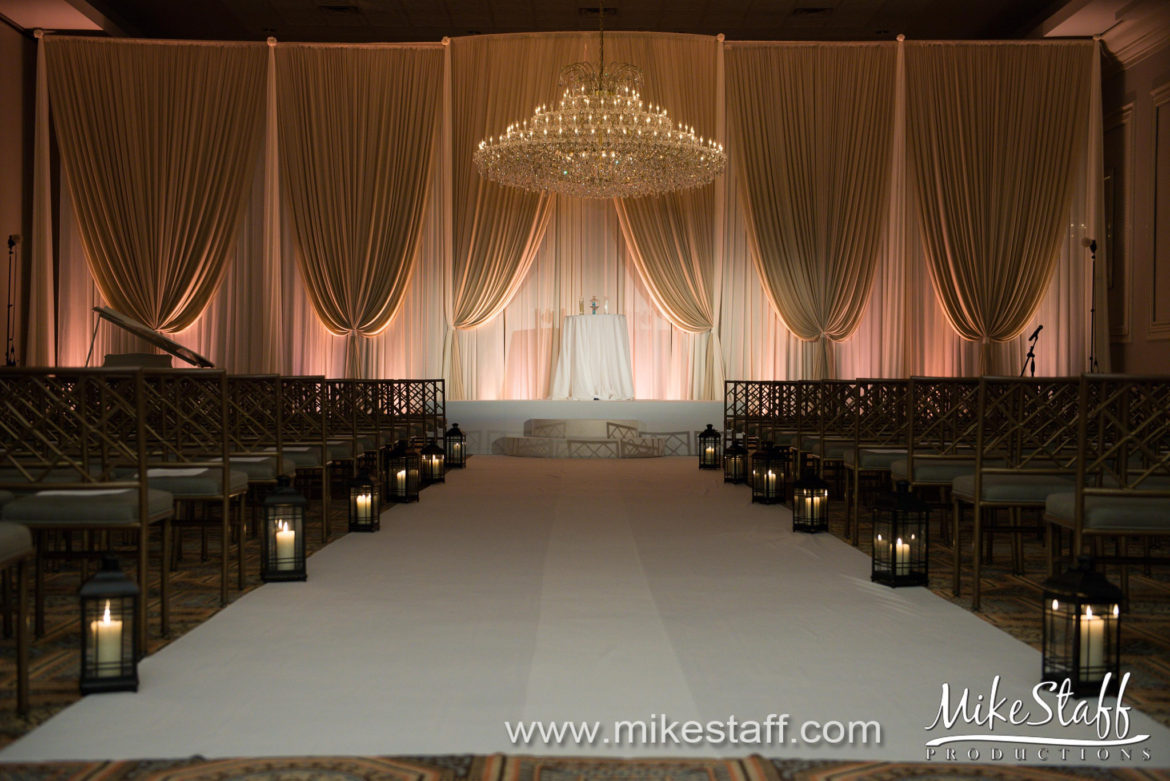 Elegant_Event_Lighting_Chicago_Drury_Lane_Oak_Brook_Wedding_Champagne_Ivory_Backdrop_Ceremony_Stage_Cover_Aisle_Runner