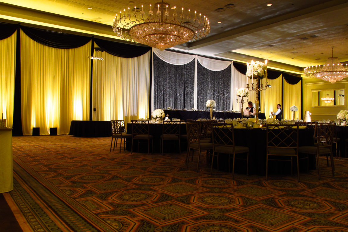 Elegant_Event_Lighting_Chicago_Drury_Lane_Oak_Brook_Wedding_Crystal_Curtain_Backdrop_Gold_Uplighting_Draping