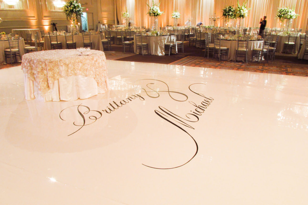 Elegant_Event_Lighting_Chicago_Drury_Lane_Oak_Brook_Wedding_Dance_Floor_White_Monogram_Vinyl