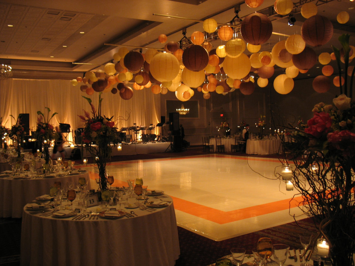 Elegant_Event_Lighting_Chicago_Drury_Lane_Oak_Brook_Wedding_Ivory_Vinyl_Dance_Floor_Paper_Lanterns_Rustic
