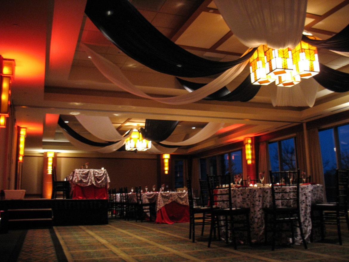 Elegant_Event_Lighting_Chicago_Eaglewood_Resort_Spa_Itasca_Wedding_Ballroom_Reception_Ceiling_Drapes_Black_White