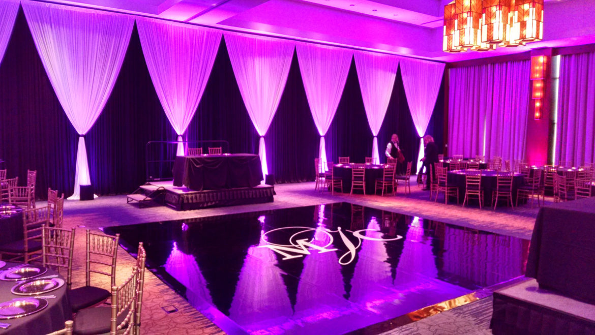 Elegant_Event_Lighting_Chicago_Eaglewood_Resort_Spa_Itasca_Wedding_Black_Dance_Floor_Vinyl_Monogram_Hot_Pink_Draping_Backdrop_LED_Uplighting