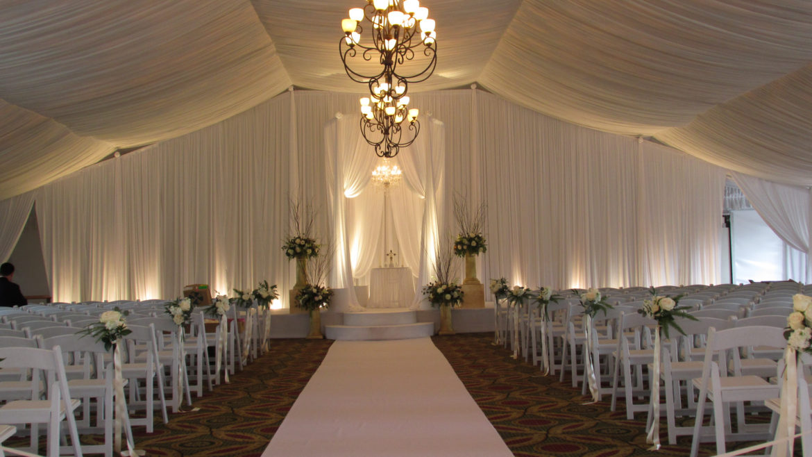 Elegant_Event_Lighting_Chicago_Eaglewood_Resort_Spa_Itasca_Wedding_Bridal_Canopy_Chuppah_Circular_Crystal_Chandelier_Draping_Backdrop_Aisle_Runner_Stage_Cover