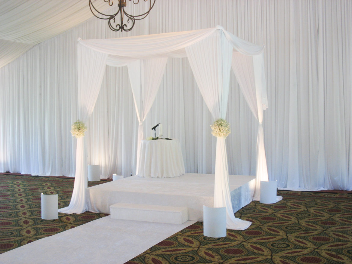 Elegant_Event_Lighting_Chicago_Eaglewood_Resort_Spa_Itasca_Wedding_Bridal_Canopy_White_Draping_Backdrop_Ceremony_Aisle_Runner.
