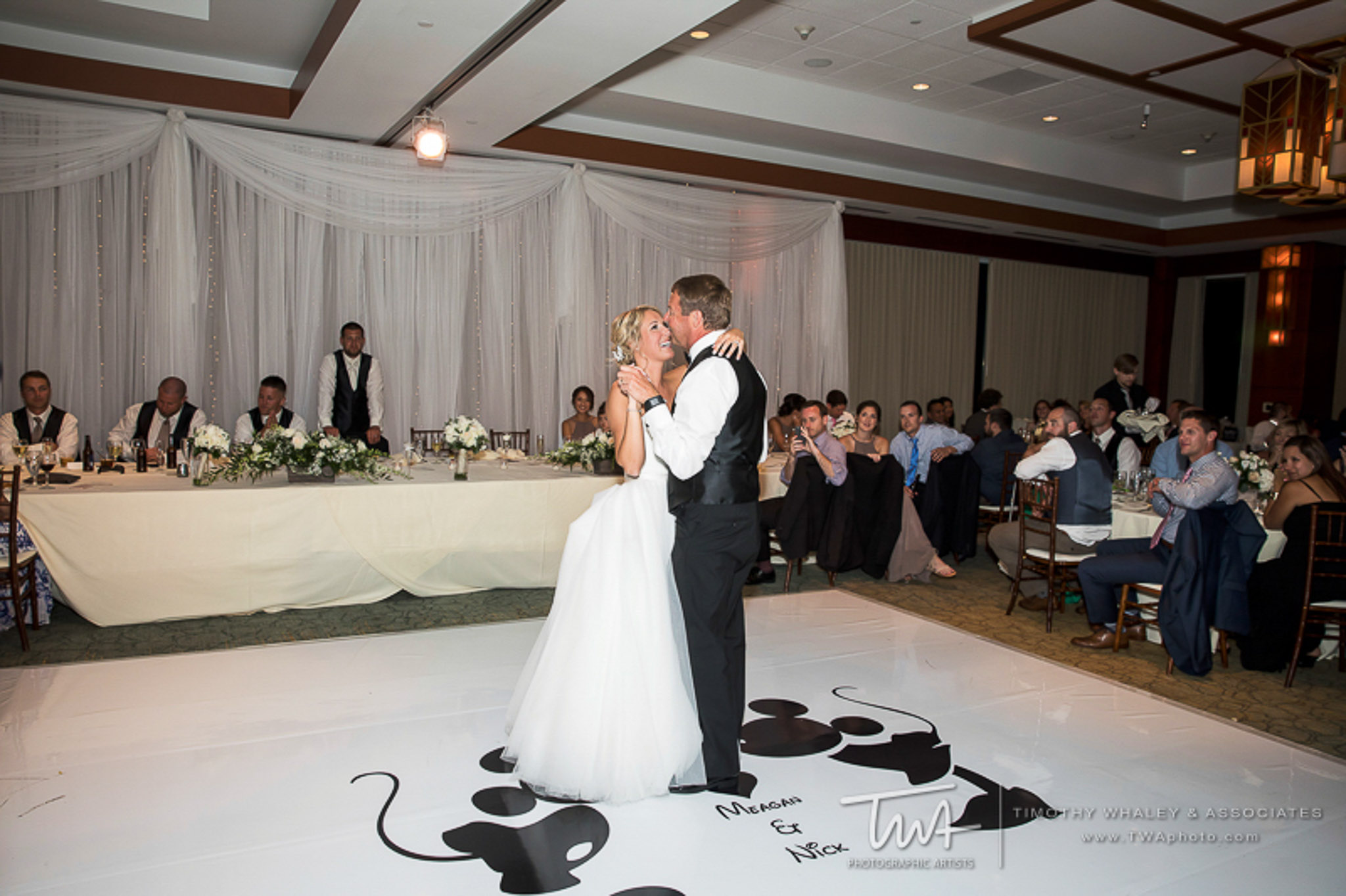 Elegant_Event_Lighting_Chicago_Eaglewood_Resort_Spa_Itasca_Wedding_Dance_White_Dance_Floor_Disney